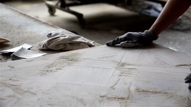 Wood panel hand sanding