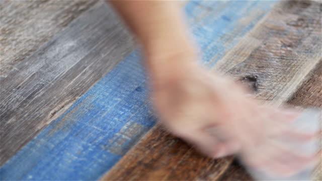 wood panel hand sanding - wood grain stock videos & royalty-free footage
