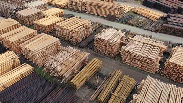 木材生産 - 材木置き場点の映像素材/bロール