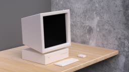 wood table grey wall computer technology concept 3d rendering motion