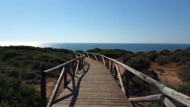 wood walk way with the sea - pedestrian walkway stock videos & royalty-free footage