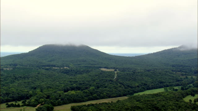 Wooded Hills In Low Cloud  - Aerial View - Arkansas, Marion County, United States