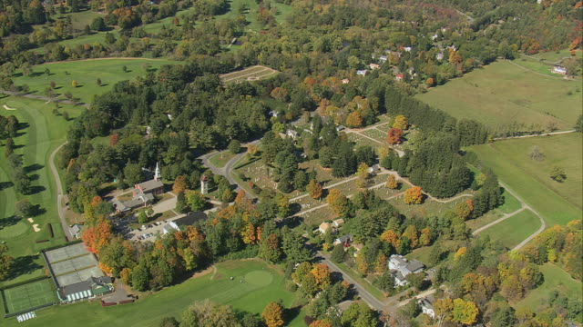 AERIAL Wooded parkland with trees and village / Westfield, Massachusetts, United States