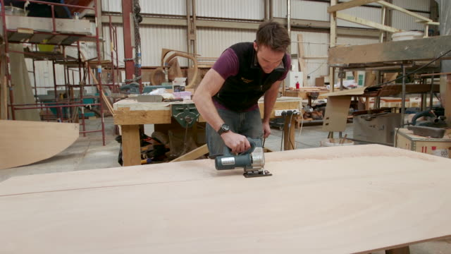 wooden boat and yacht craftsmen - sander stock videos and b-roll footage