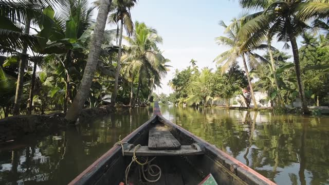 a wooden boat sailing in the brackish water of kerala backwaters surrounded by various trees. -wide shot - canal stock videos & royalty-free footage