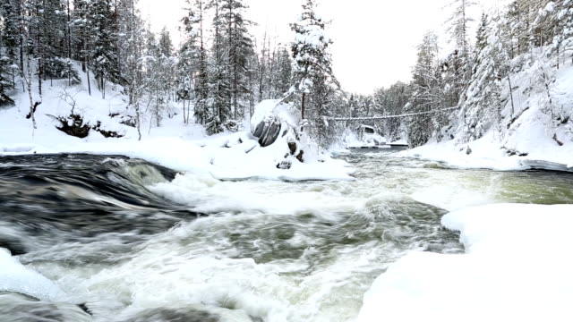 Wooden bridge above Myllykoski rapids Juuma Oulanka Nat Pk Finland