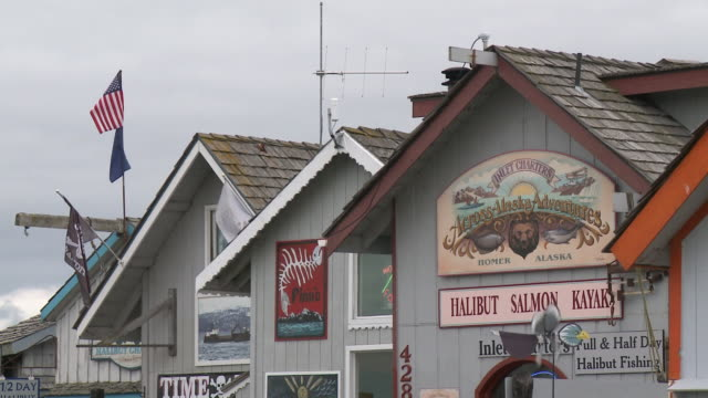 """cu of wooden buildings with colourful facades and signage housing various shops and businesses on homer spit, homer, kenai peninsula, alaska."" - homer alaska stock videos & royalty-free footage"