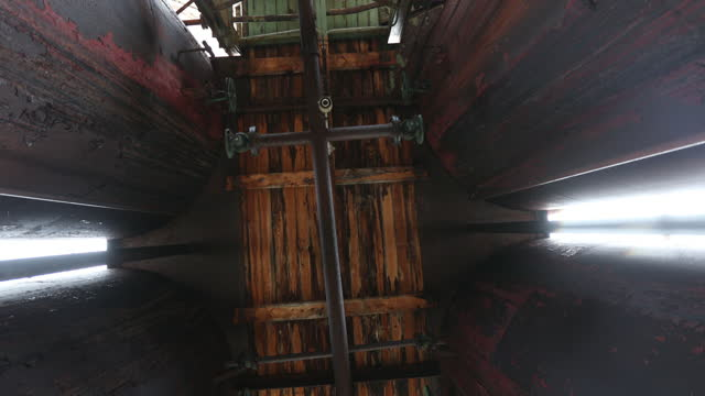 wooden ceiling of abandoned rusty whaling station - 大西洋諸島点の映像素材/bロール