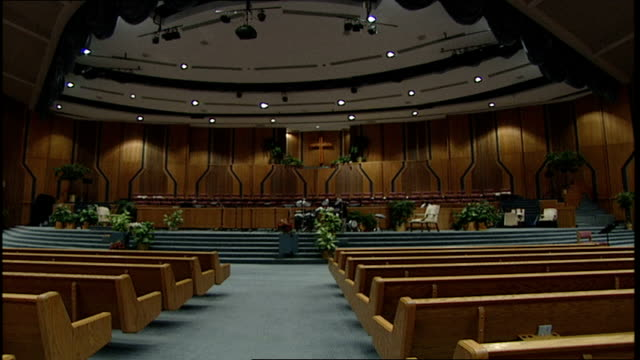 cu wooden church and large stage inside church in florida - church stock videos & royalty-free footage