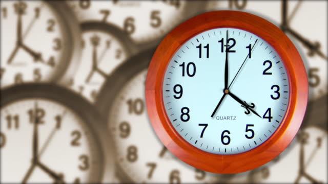 vídeos de stock e filmes b-roll de a wooden clock?s hands spin over a sepia composite clock background. - grupo médio de objetos