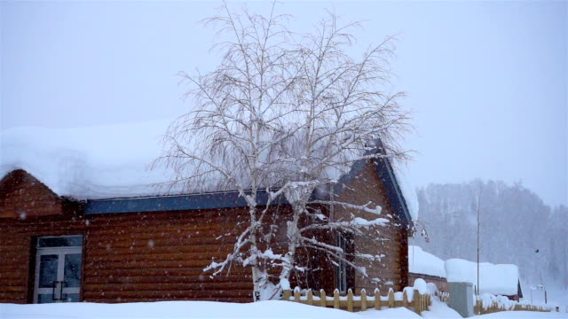 SLO MO Wooden Cottage in snowstorm, Log Cabin in Winter/Hemu, Xinjiang, China