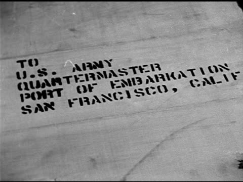 Wooden crate w/ label for US Army Quartermaster at Port of Embarkation San Francisco CA