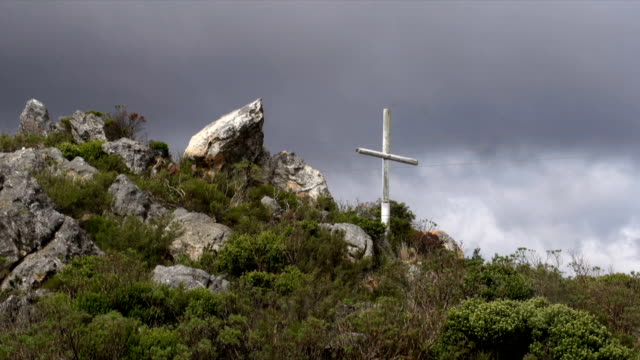 MS Wooden cross against grey sky / Western Cape/ South Africa