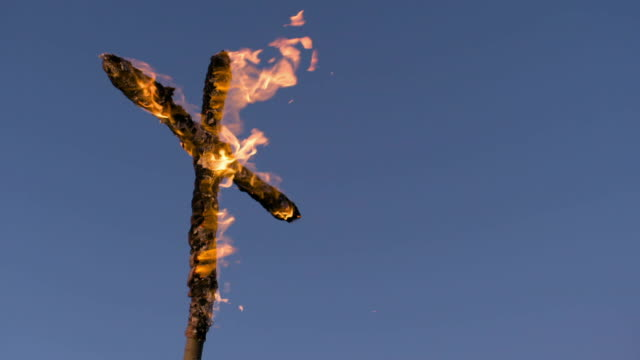wooden cross on fire - religious cross stock videos & royalty-free footage