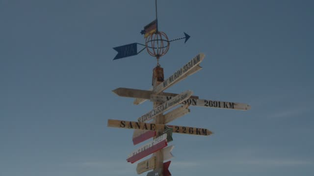 A wooden directional sign stands against a blue sky. Available in HD.