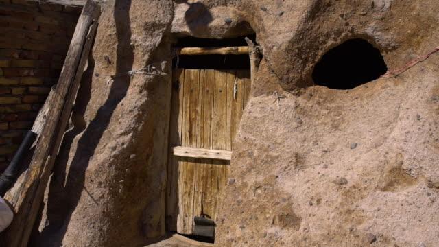 wooden door built within rock - heckklappe teil eines fahrzeugs stock-videos und b-roll-filmmaterial