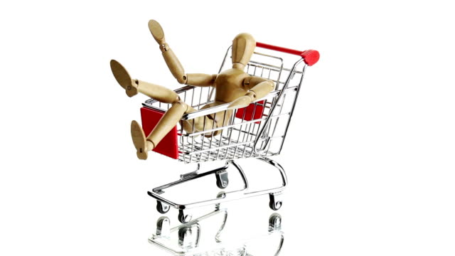 Wooden dummy sitting in shopping cart