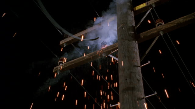 MS Wooden electric power pole exploding and wires falling