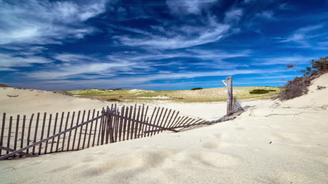 wooden fence and sand dunes - massachusetts stock videos & royalty-free footage