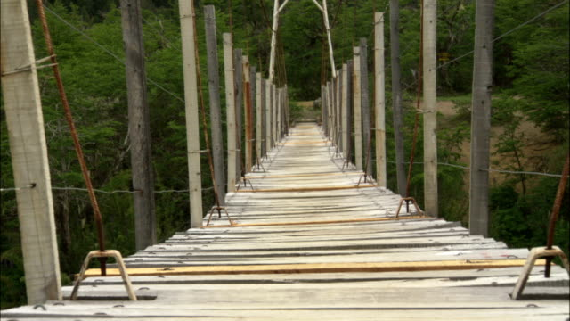a wooden footbridge sways in a breeze. - wood material stock videos & royalty-free footage