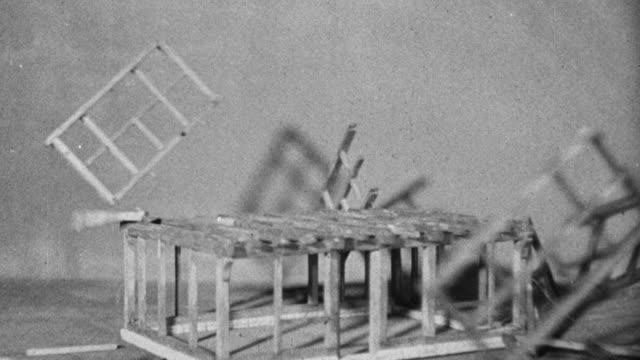 vídeos de stock, filmes e b-roll de 1946 ws wooden frame of model house being assembled / united kingdom - 1946