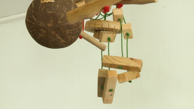 wooden handles and red rope - mestolo video stock e b–roll