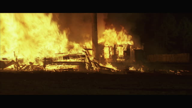 ws td zi wooden house burning - wood material stock videos and b-roll footage
