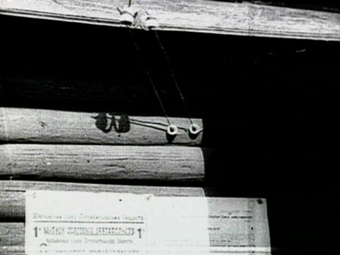 wooden house, electric lines on house, electric pylon audio/ russia - anno 1925 video stock e b–roll