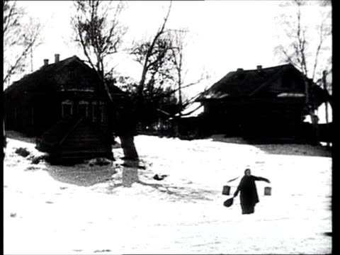 1925 montage b/w wooden houses in russian village during winter/ russia - 1925年点の映像素材/bロール