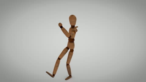 wooden human mannequin dancing in loop - wood material stock videos & royalty-free footage