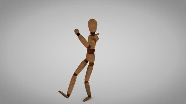wooden human mannequin dancing in loop - wood material stock videos & royalty-free footage