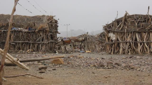 wooden huts in village - äthiopien stock-videos und b-roll-filmmaterial
