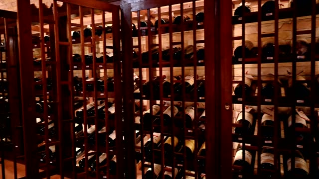 wooden interior of wide bottles in storage room - collection stock videos & royalty-free footage