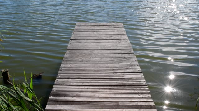 wooden jetty in lake, drei gleichen, ilm district, thuringia, germany - jetty stock videos & royalty-free footage