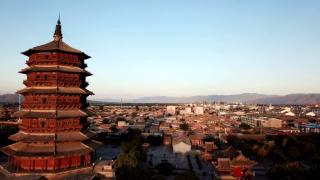 wooden pagoda of yingxian, shanxi province, china. - pagoda stock videos & royalty-free footage