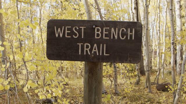 holzschild zeigt west bench mountain bike trail im grand mesa national forest in der nähe von grand junction colorado in den schönen september herbst farben - wegweiser stock-videos und b-roll-filmmaterial
