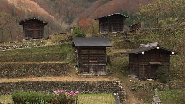 Wooden Storehouses In Tanekura, Gifu, Japan
