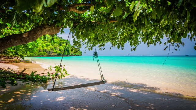 vídeos de stock e filmes b-roll de wooden swing on tropical beach- thailand - ilhas phi phi