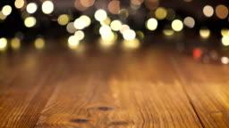 Wooden table background, Christmas light bokeh