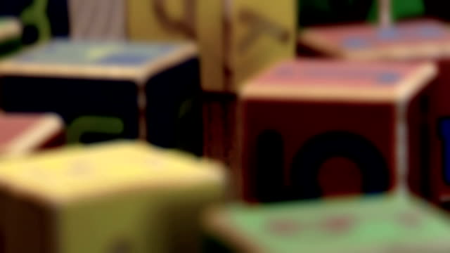 Wooden toy blocks close up, various dof 1080p