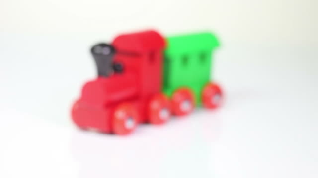 wooden toy train - weißer hintergrund stock videos & royalty-free footage