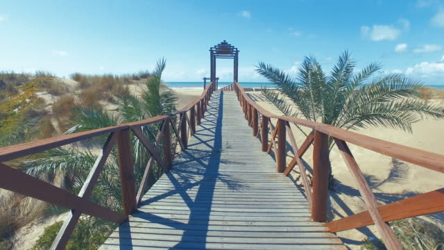vídeos y material grabado en eventos de stock de wooden walkway and bridge in the beach - paso peatonal vías públicas