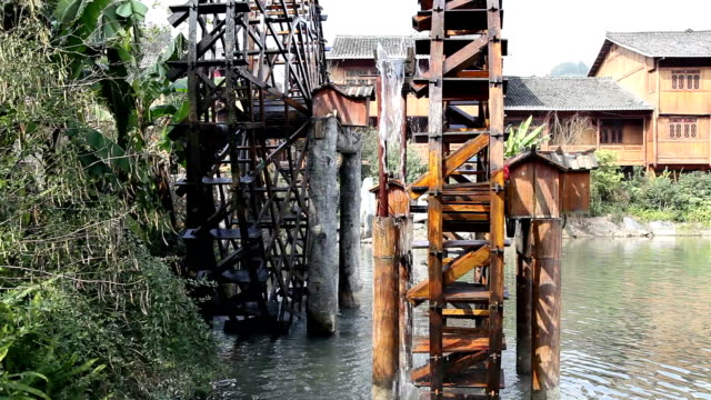 wooden waterwheels - wood material stock videos & royalty-free footage
