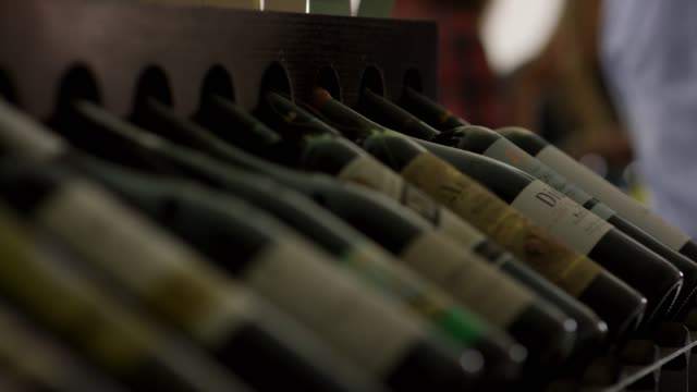 wooden wine rack with an assortment of wines- selective focus - rack stock videos & royalty-free footage
