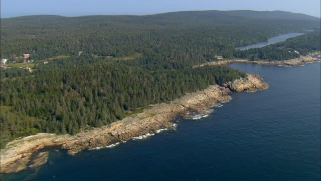 aerial, woodland and shoreline / isle au haut, maine - coastline stock videos & royalty-free footage