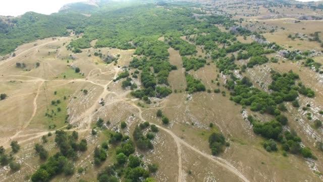 AERIAL: Woodland on rocky hills
