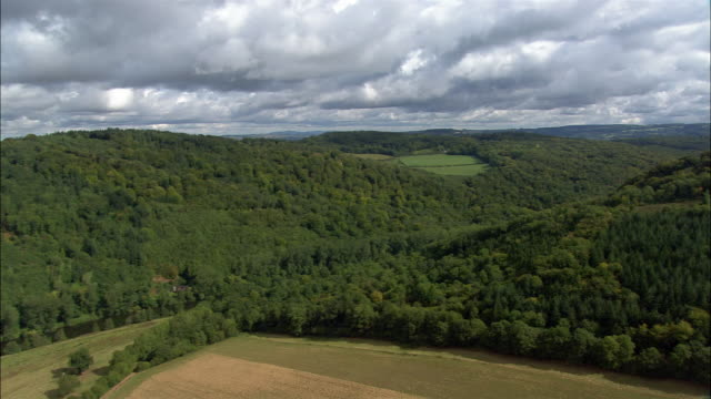 aerial, woodlands and river wye, gloucestershire, england - gloucestershire stock videos and b-roll footage