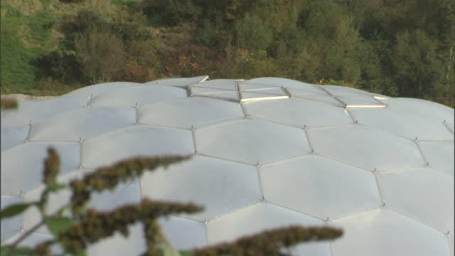 vídeos y material grabado en eventos de stock de woodlands surround the dome of the eden project in cornwall. - cornwall inglaterra