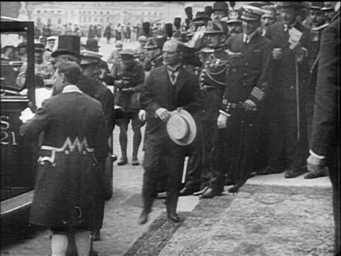 woodrow and edith wilson exiting car are greeted by dignitaries / versailles / doc - 1910 1919 stock videos and b-roll footage