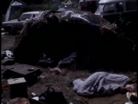 woodstock spectators camp in the fields at max yasgur's dairy farm. - music or celebrities or fashion or film industry or film premiere or youth culture or novelty item or vacations stock videos & royalty-free footage